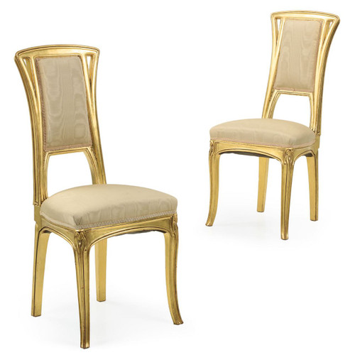 Pair of Art Nouveau Gilt Antique Side Chairs attr. Louis Majorelle