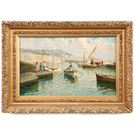Lazzaro Pasini (Italian, 1861-1949) Antique Coastal Oil Painting