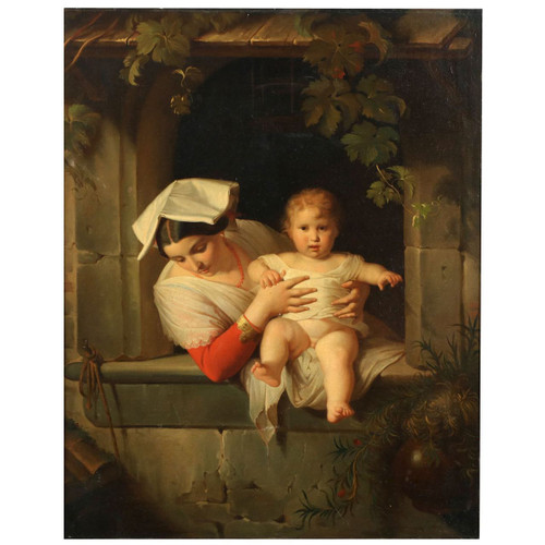Antique Roman Painting of Woman and Child, 19th Century, Italian