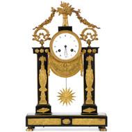 French Empire Egyptian Revival Bronze Portico Clock