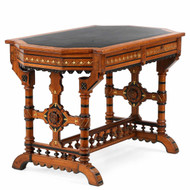 American Renaissance Revival Burl Walnut Library Writing Table