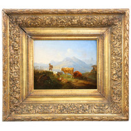 German School (19th Century) Mountainscape Painting of Cattle and Sheep