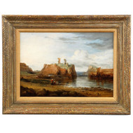 Antique Painting of Dunbar Castle Ruins in Scotland