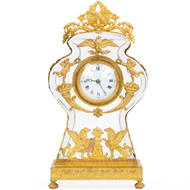 Empire Gilt Bronze Mounted Glass Mantel Clock, 19th Century