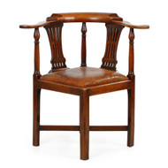 "Chippendale Walnut and Leather ""Roundabout"" Corner Chair"