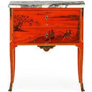 French Louis XV Style Red Chinoiserie Painted Commode