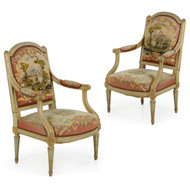 Pair of French Louis XVI Green Painted Fauteuil Arm Chairs, 19th Century