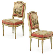 Pair of French Louis XVI Green Painted Side Chairs, 19th Century