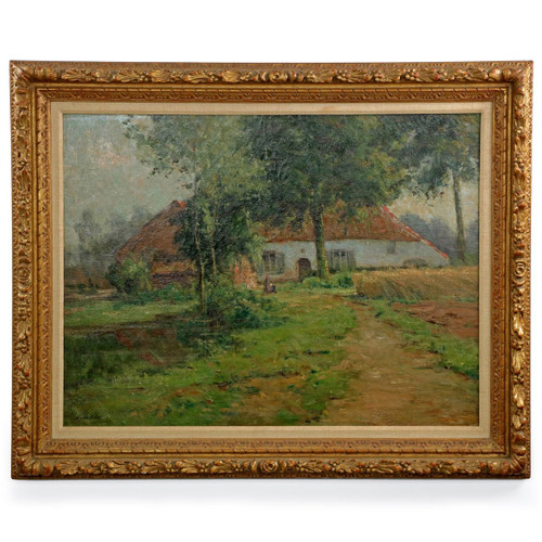 Léon Riket (Belgian, 1876-1938) Landscape Painting of Cottage