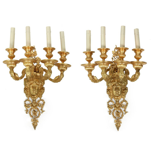 Pair of Mitchell, Vance & Co. Gilt Bronze Sconces