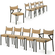 Fine Set of Ten Industrial Handmade Welded Steel Dining Chairs, 21st Century