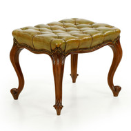 French Rococo Revival Green Leather Antique Footstool Ottoman