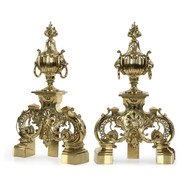 Pair of Louis XVI Style Brass Chenets Andirons by F. Barbedienne
