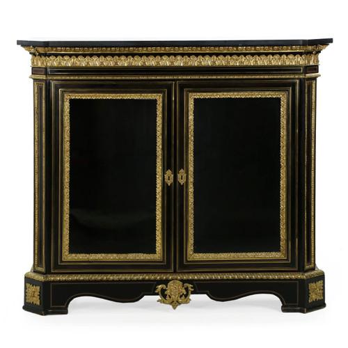 Napoleon III Ebonized Bronze Marble Antique Cabinet