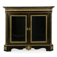 Napoleon III Ebonized Bronze Marble Antique Cabinet