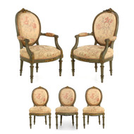 French Louis XVI Style Green Painted Salon Suite of Five Chairs