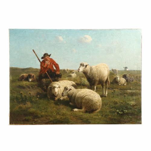 Cornelius van Leemputten & Jan David Col Painting of Sheep with Shepherd