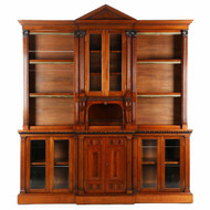 Exceptional Irish Walnut Palladian Bookcase by Strahan & Co.