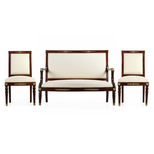 Fine French Empire Style 3pc Salon Suite of Side Chairs with Settee