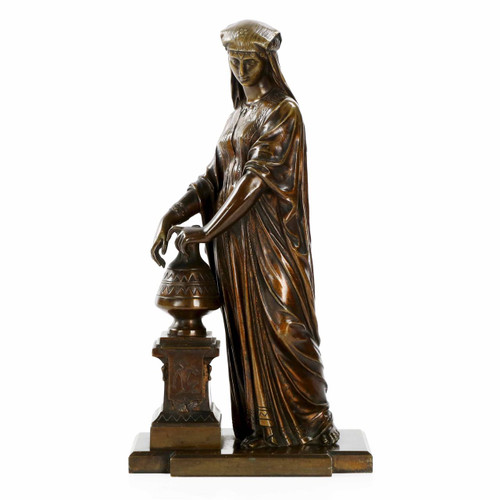 Egyptian Revival Bronze Sculpture of a Woman, France c. 1880