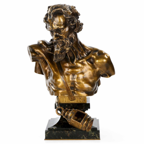 "Bronze Bust of ""Diogene"" after Claudius Marioton cast by E. Colin"