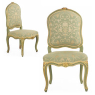 Pair of Louis XV Style Green Painted and Gilded Side Chairs, 19th Century