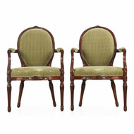 Pair of George III Mahogany Arm Chairs, England, late 18th Century