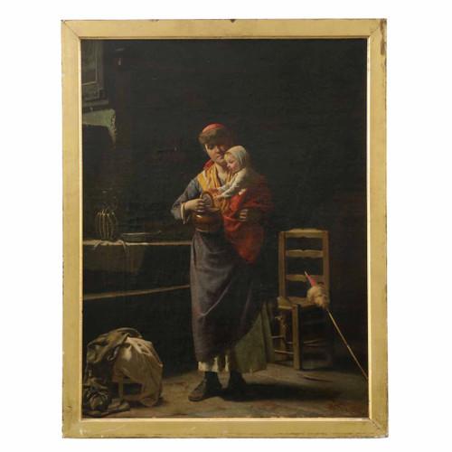 Luigi Scaffai (Italian, 1837-1899) Interior Family Scene Painting