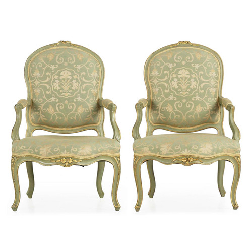 Pair of French Louis XV Style Green Fauteuil Arm Chairs, 19th Century