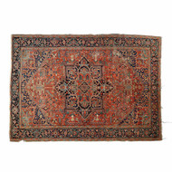 Worn Authentic Antique Heriz Room Size Rug Carpet