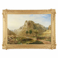 Very Large Antique British Landscape Painting of Mountains, 19th century