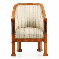 Biedermeier Parcel-Ebonized Cherrywood Arm Chair c. 1820-35