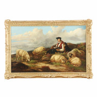 "J. C. Morris (British, fl. 1851-63) Painting ""Shepherd w/ Flock"" c. 1857"