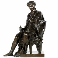 "Very Fine French Bronze Sculpture of Seated Horace, 25"" H, 19th Century"