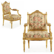 Pair of Louis XVI Giltwood Fauteuils w/ Musical Instrument Carvings