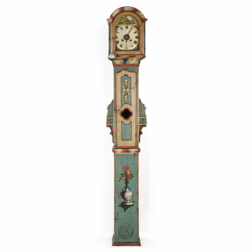 Fine Austrian/Swedish Painted Tall Case Clock, 19th Century