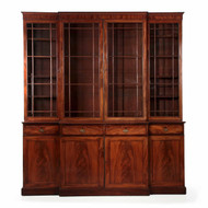 English George III Period Mahogany Breakfront Cabinet, circa 1790
