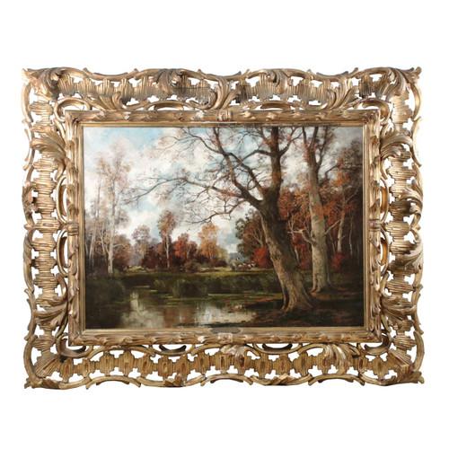 Large Barbizon Landscape Painting by Adolf Kaufmann (Austrian, 1848-1916)