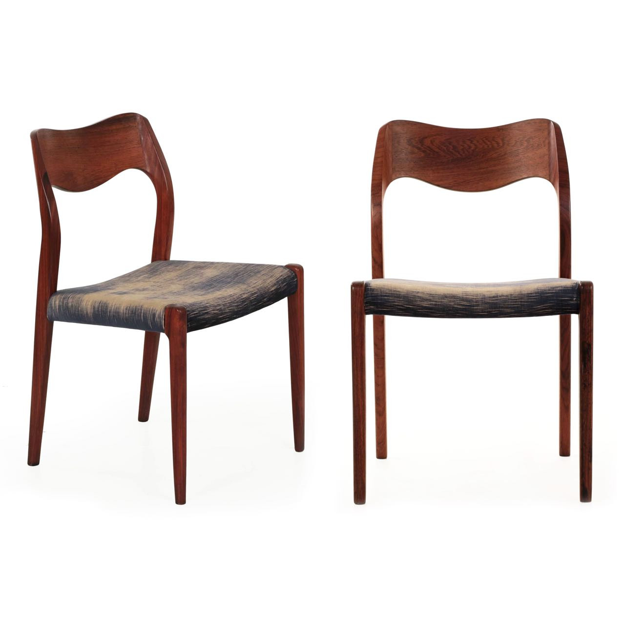 Pair Of Niels Møller Rosewood No. 71 Side Chairs C. 1960s