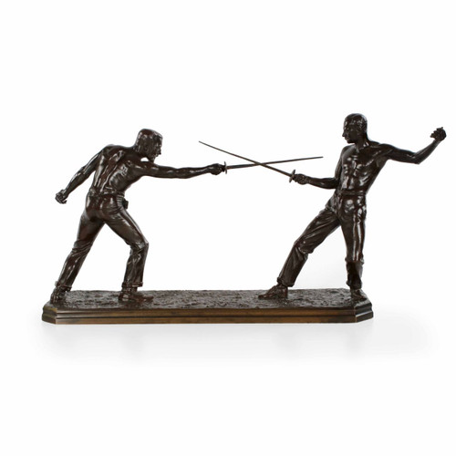 """Un Duel"" Bronze Group Sculpture by Nicolas Mayer (French, 1852-1939)"