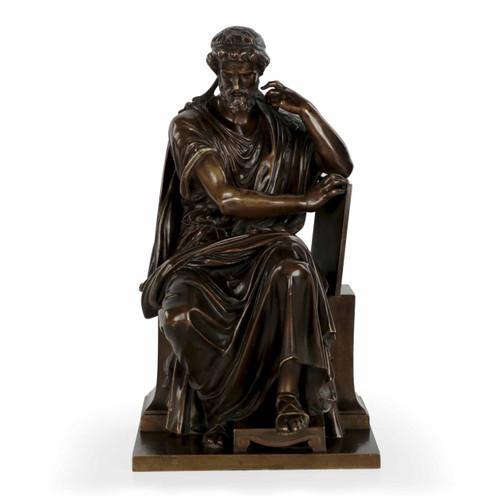 Eugene Laurent (French, 1832-98) Bronze Sculpture of Philosopher Zeno