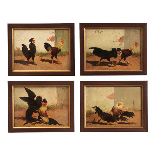 Four William Baird (American, 1847-1899) Paintings of Cock Fights