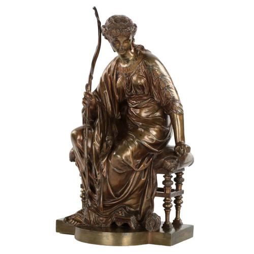 Etienne Henri Dumaige (French, 1830-1888) Bronze Sculpture of Artemis