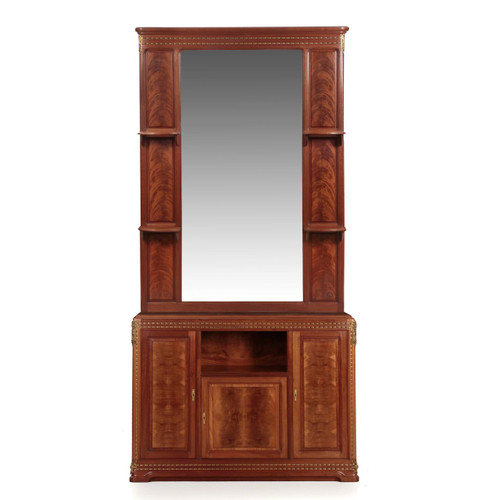 "Louis Majorelle ""Pirouette"" Figured Mahogany Dresser and Mirror"