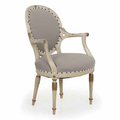 Louis XVI Style Parcel Gilt and White Painted Arm Chair circa 1940s