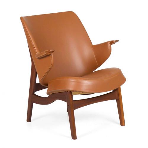Danish Sculpted Teak Arm Chair by Poul Jessen for Viby J.