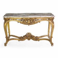 French Louis XV Giltwood Center Table w/ Breche Violet Top c. 1870