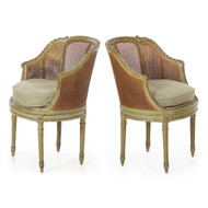 Pair of Louis XVI Style Green Painted Roundback Bergeres