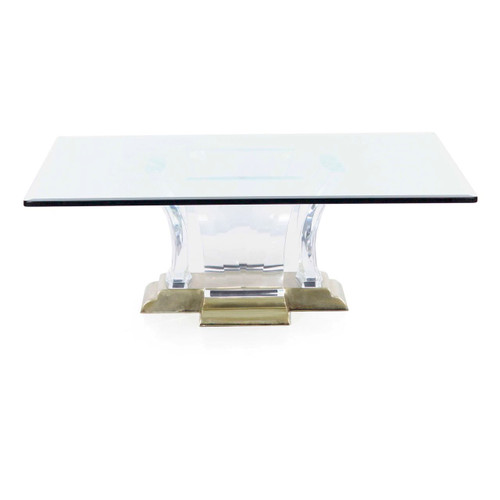 Jeffrey Bigelow Faceted Lucite and Brass Coffee Table circa 1988