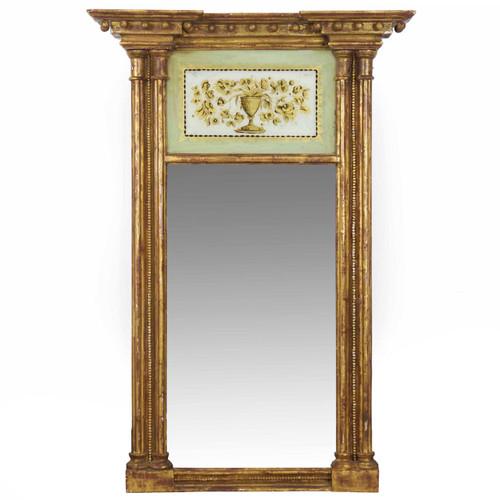 American Federal Giltwood Eglomisé Pier Mirror circa 1810
